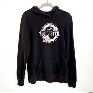 Hollister Black Floral Graphic Hoodie Sweatshirt L